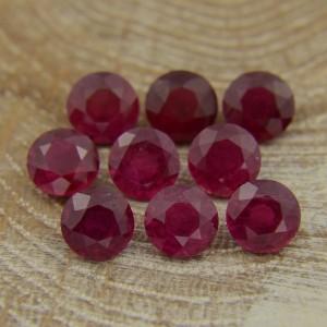 Лот рубинов - круги 6 мм, 9 шт., 8,96 карат ($400,00)