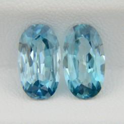 Пара природных голубых цирконов - овалы 11.7х6.6 мм, 7.04 карата ($915.00)